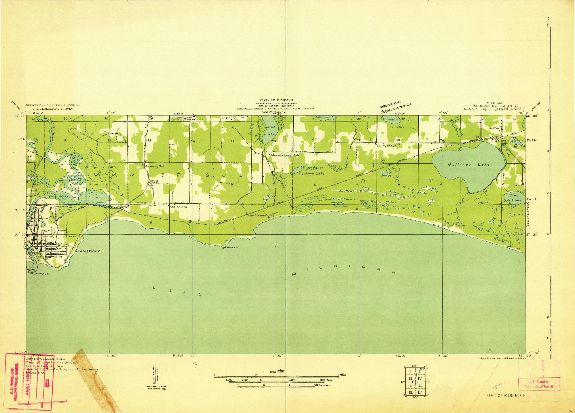 USGS 1:31680-SCALE QUADRANGLE FOR MANISTIQUE, MI 1931