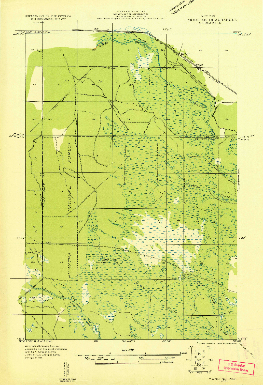 USGS 1:31680-SCALE QUADRANGLE FOR MUNISING SE, MI 1931