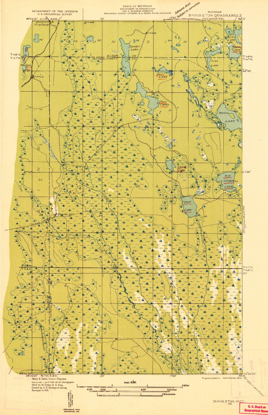 USGS 1:31680-SCALE QUADRANGLE FOR SHINGLETON NE, MI 1931