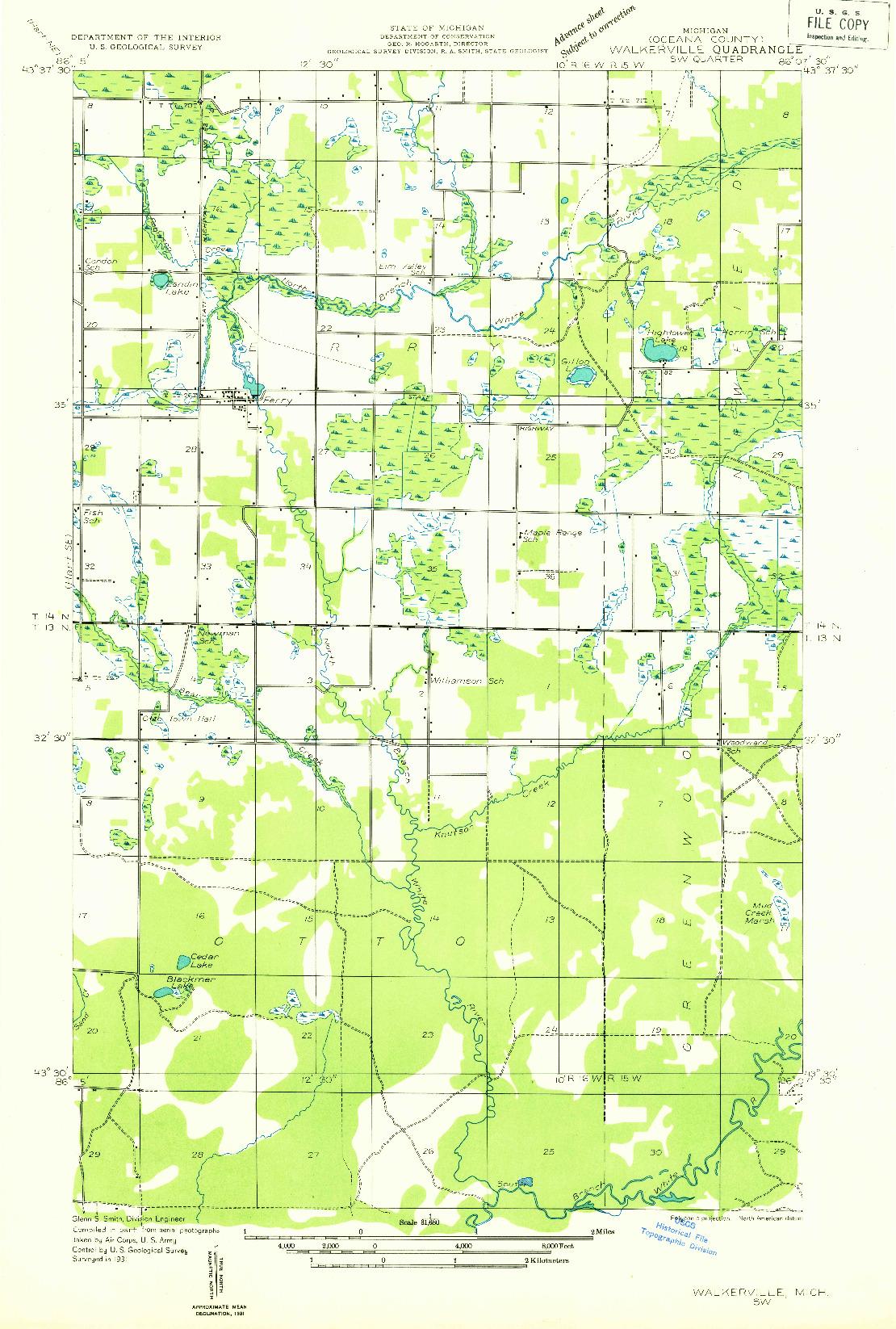 USGS 1:31680-SCALE QUADRANGLE FOR WALKERVILLE SW, MI 1931