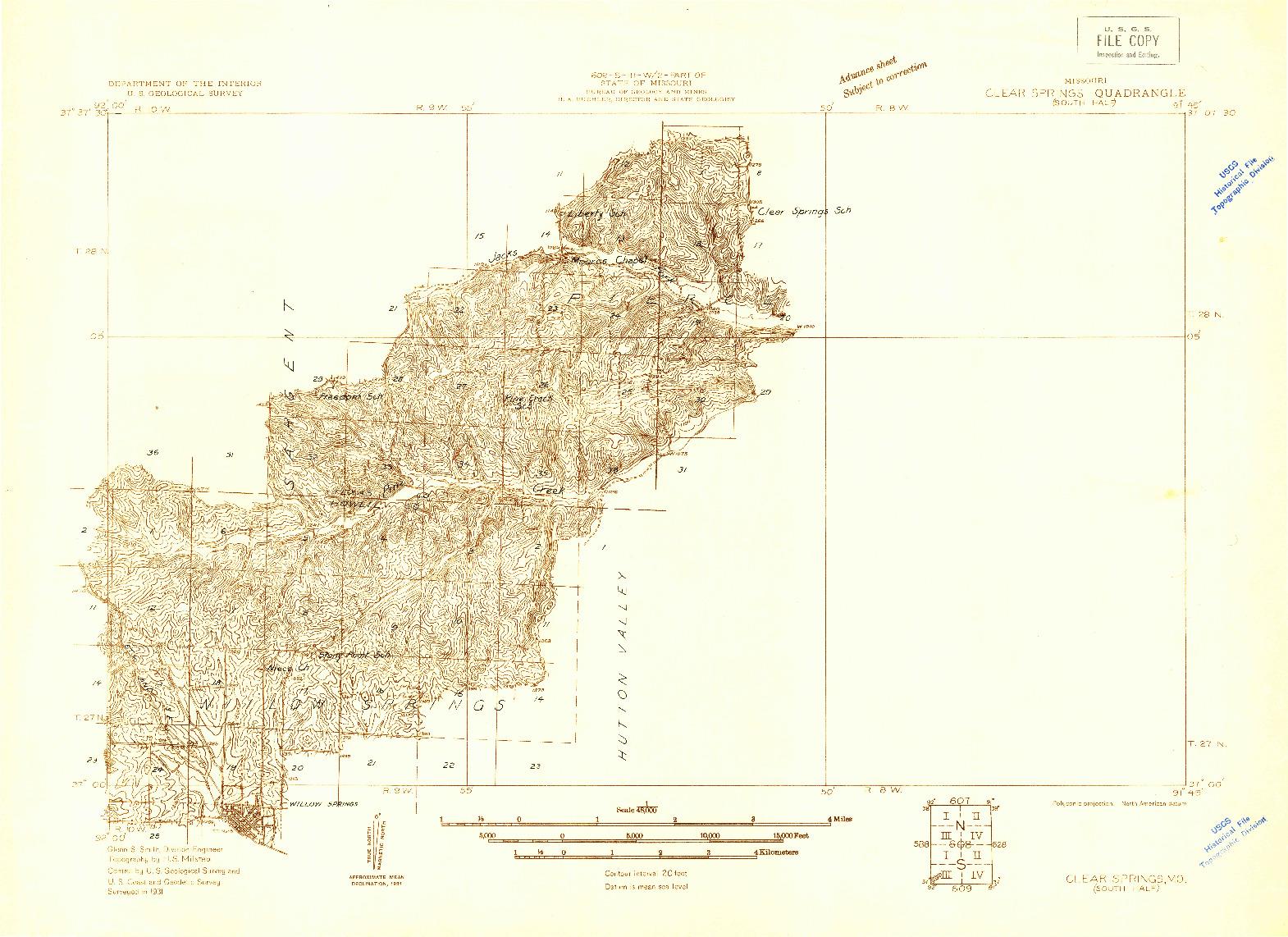 USGS 1:48000-SCALE QUADRANGLE FOR CLEAR SPRINGS, MO 1931