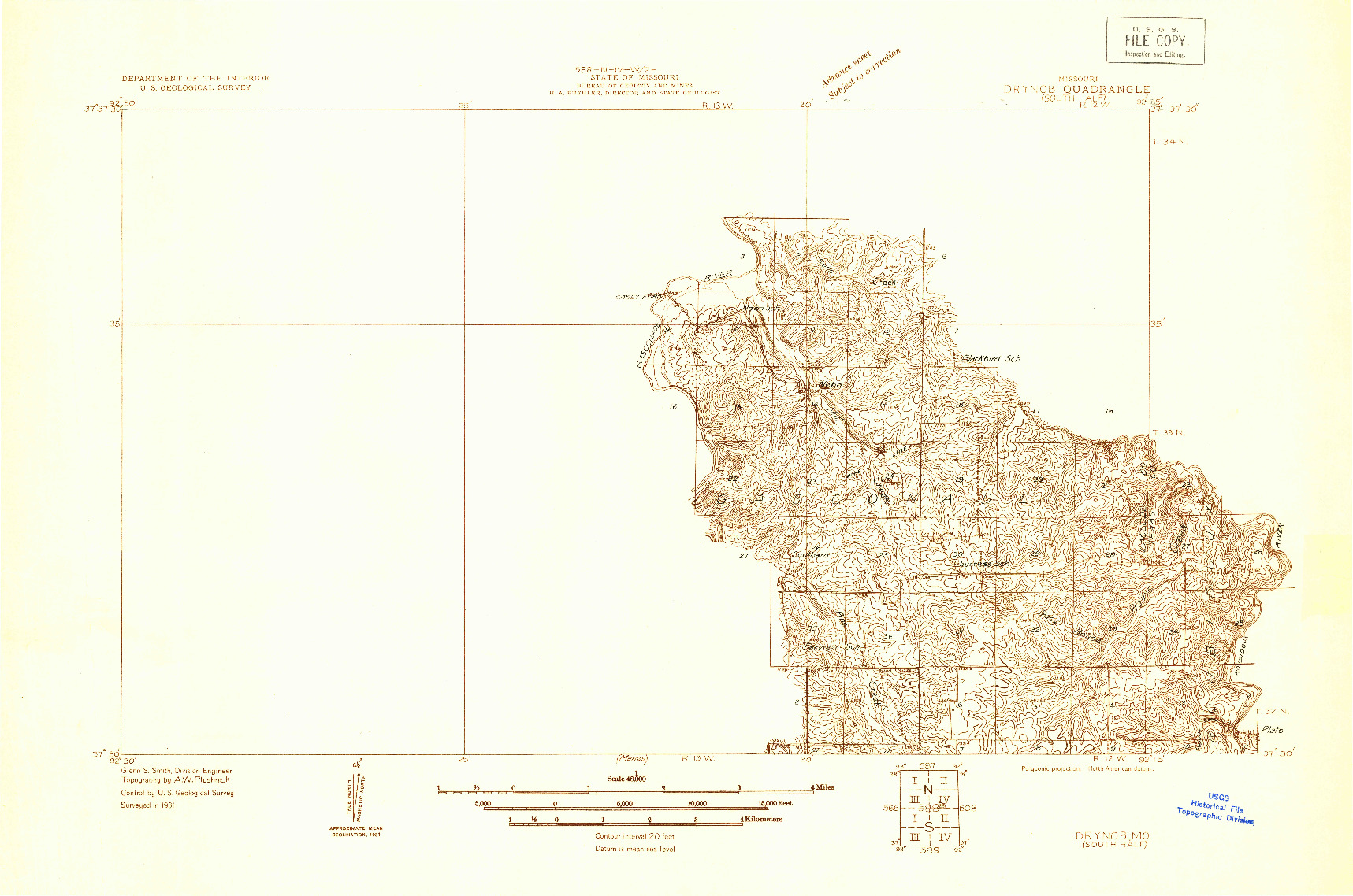 USGS 1:48000-SCALE QUADRANGLE FOR DRYNOB, MO 1931