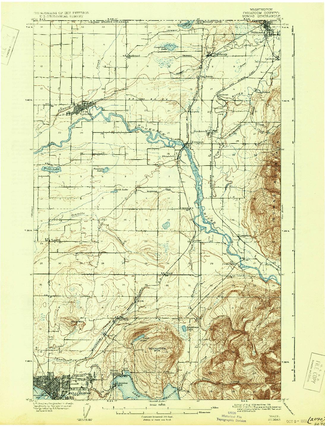 USGS 1:62500-SCALE QUADRANGLE FOR SUMAS, WA 1908