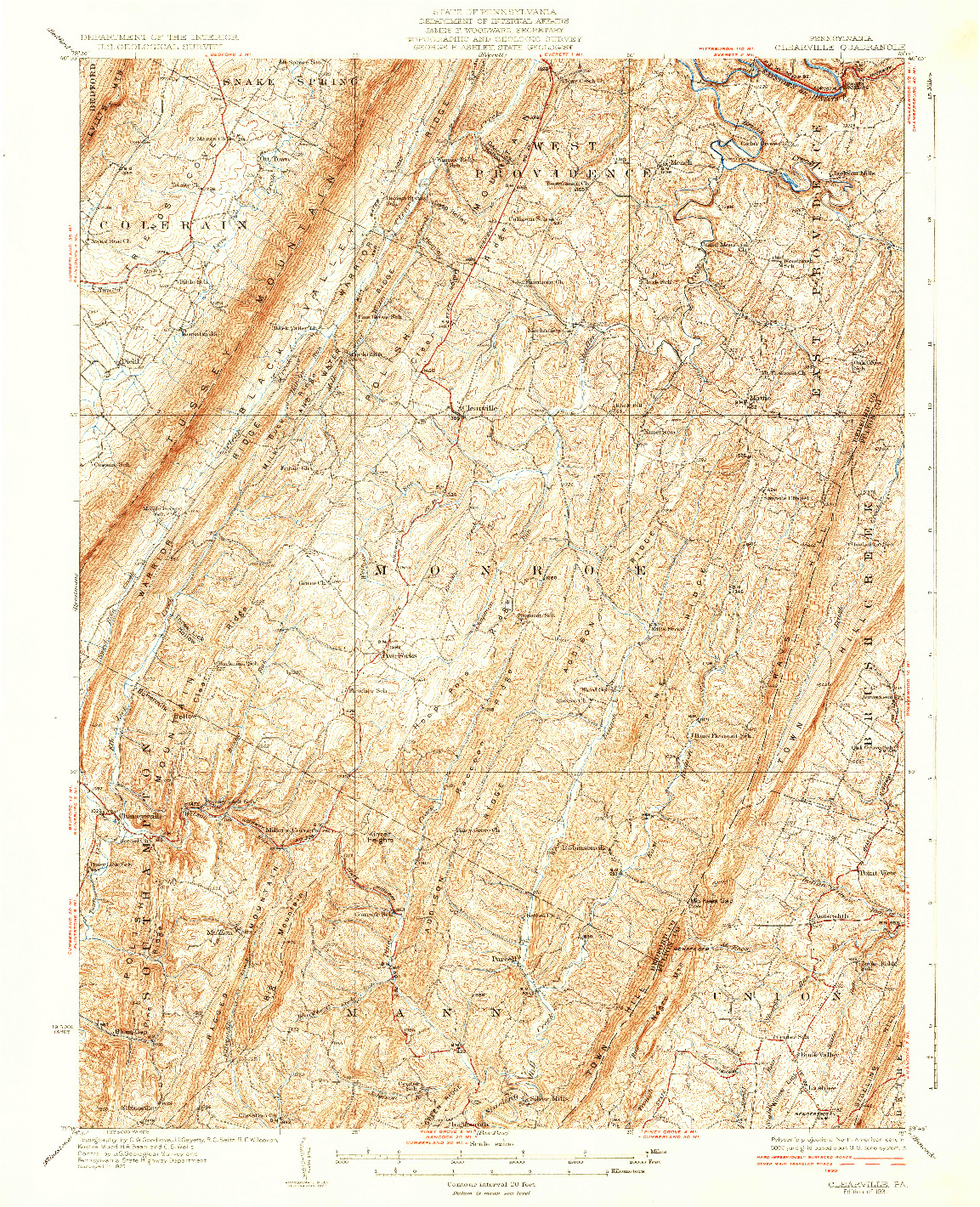 USGS 1:62500-SCALE QUADRANGLE FOR CLEARVILLE, PA 1931