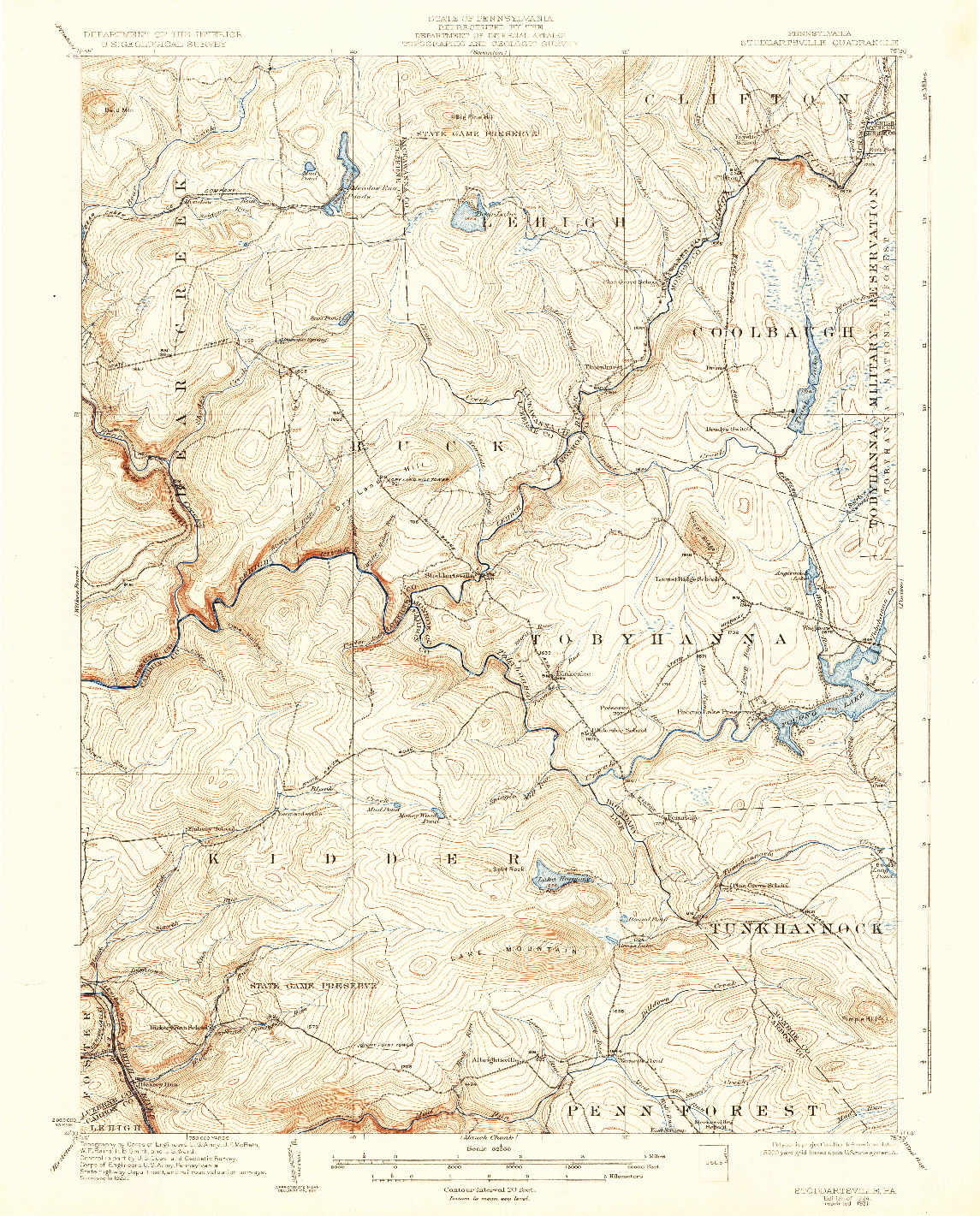 USGS 1:62500-SCALE QUADRANGLE FOR STODDARTSVILLE, PA 1924