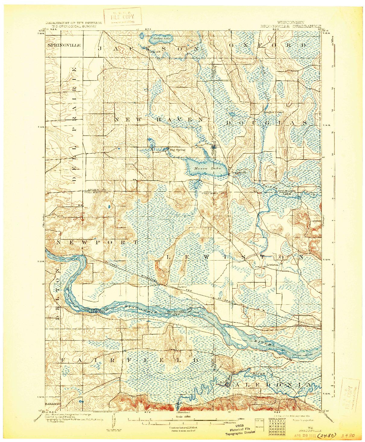 USGS 1:62500-SCALE QUADRANGLE FOR BRIGGSVILLE, WI 1902