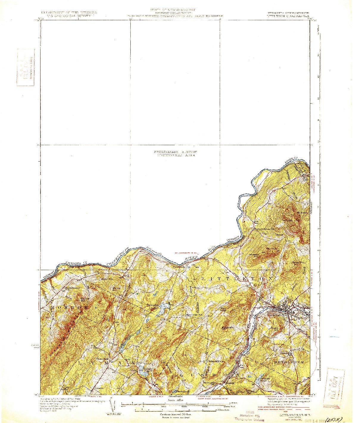 USGS 1:62500-SCALE QUADRANGLE FOR LITTLETON, VT 1931