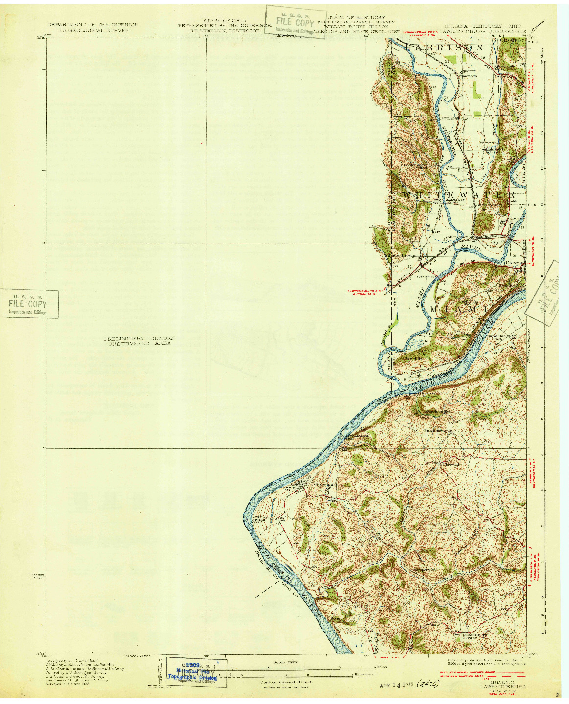 USGS 1:62500-SCALE QUADRANGLE FOR LAWRENCEBURG, IN 1932