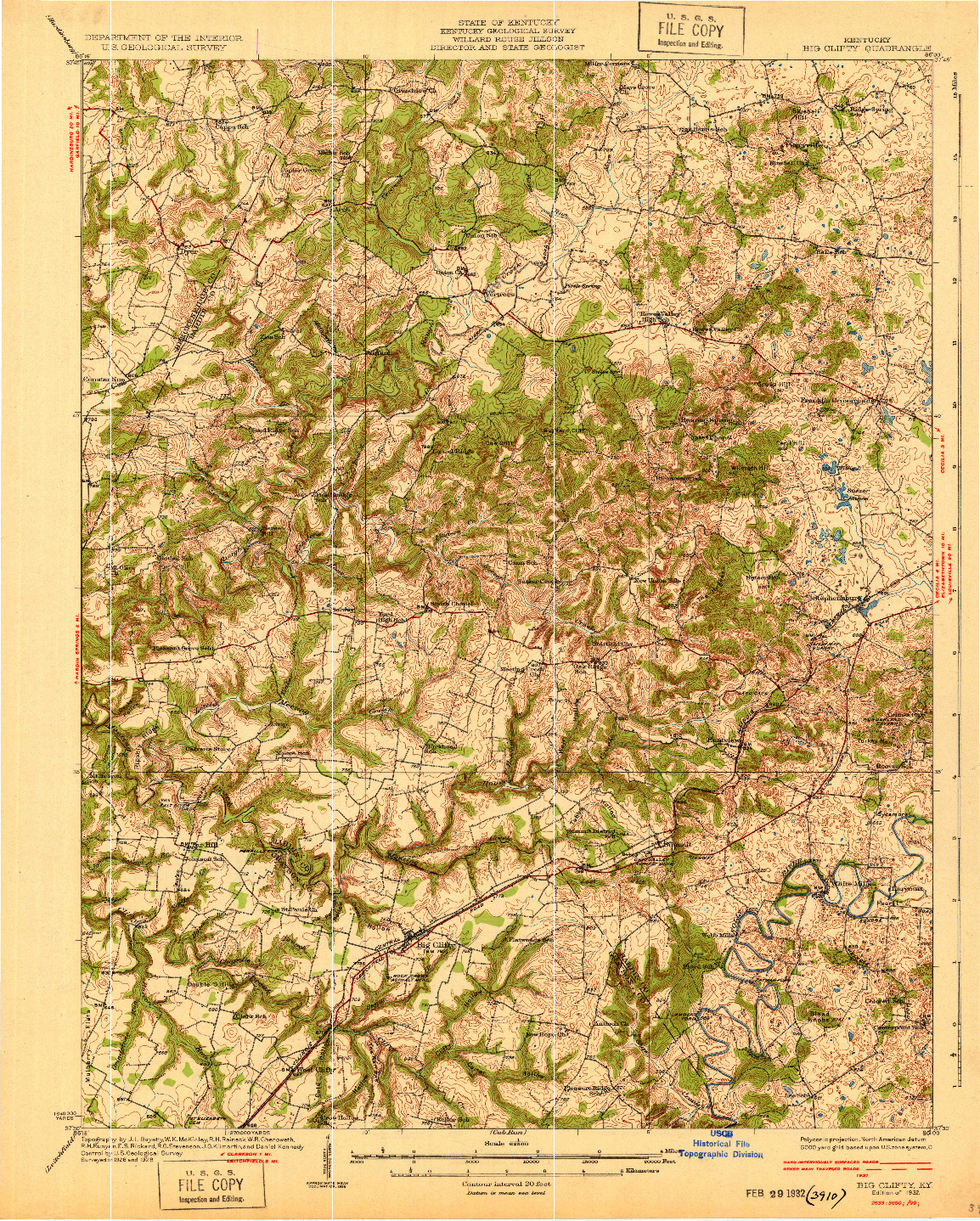 USGS 1:62500-SCALE QUADRANGLE FOR BIG CLIFTY, KY 1932