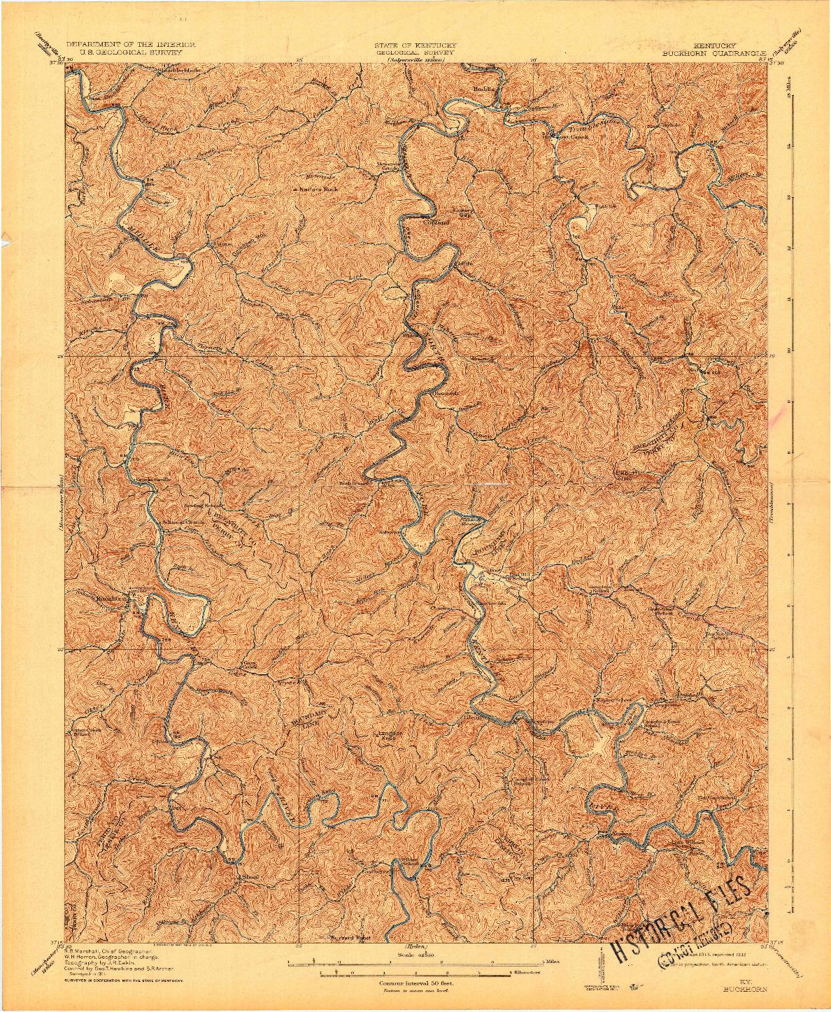 USGS 1:62500-SCALE QUADRANGLE FOR BUCKHORN, KY 1913