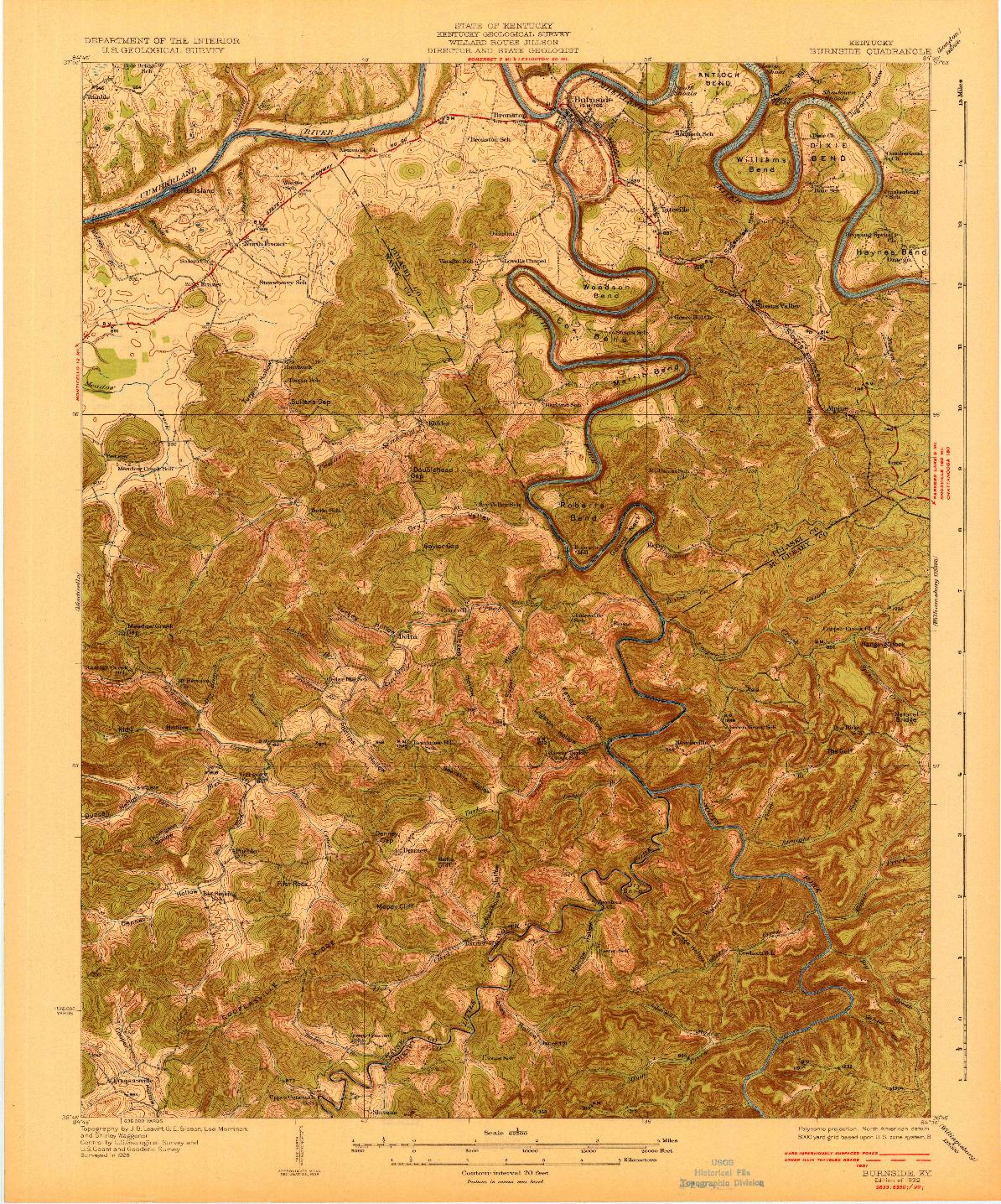 USGS 1:62500-SCALE QUADRANGLE FOR BURNSIDE, KY 1932