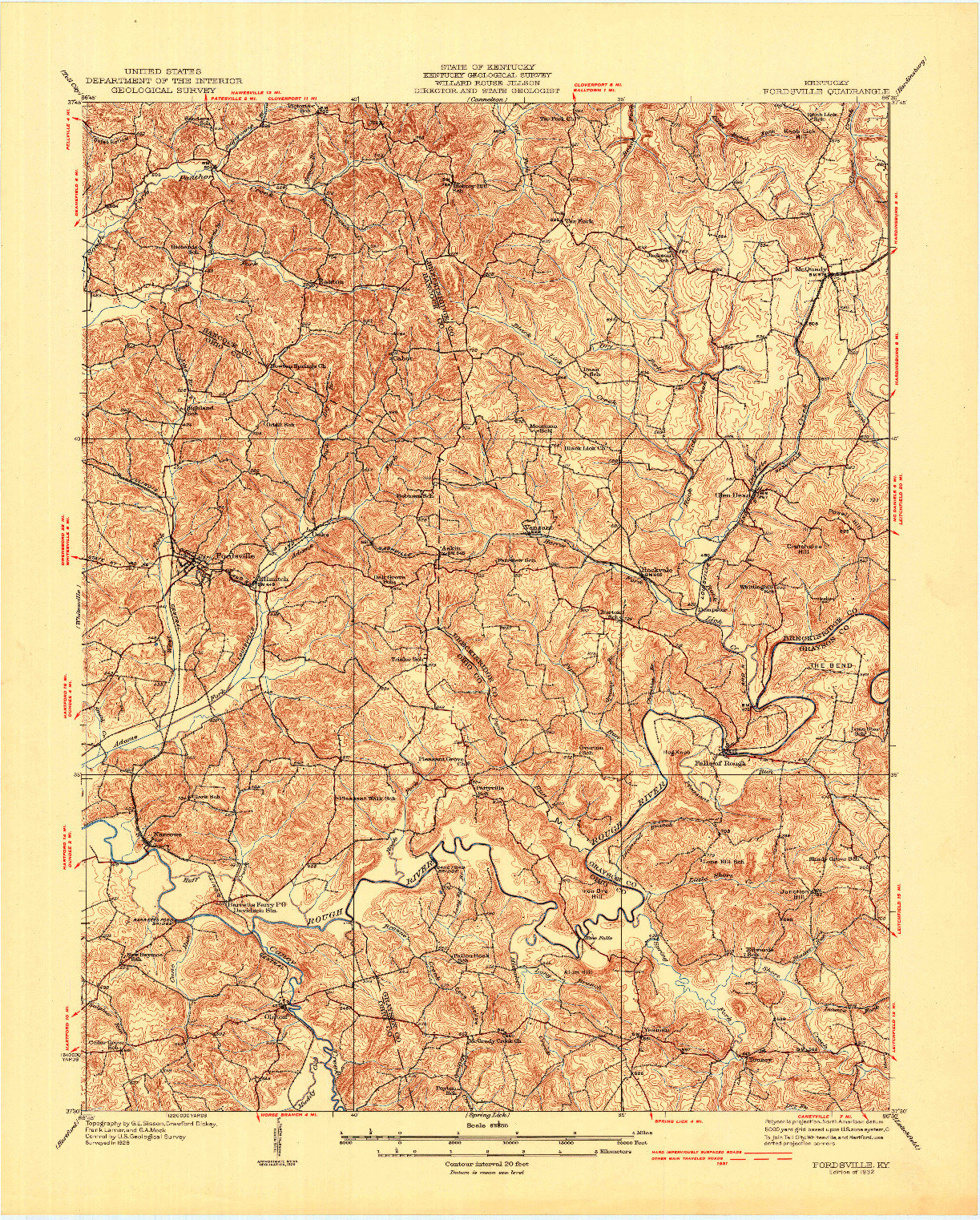 USGS 1:62500-SCALE QUADRANGLE FOR FORDSVILLE, KY 1932