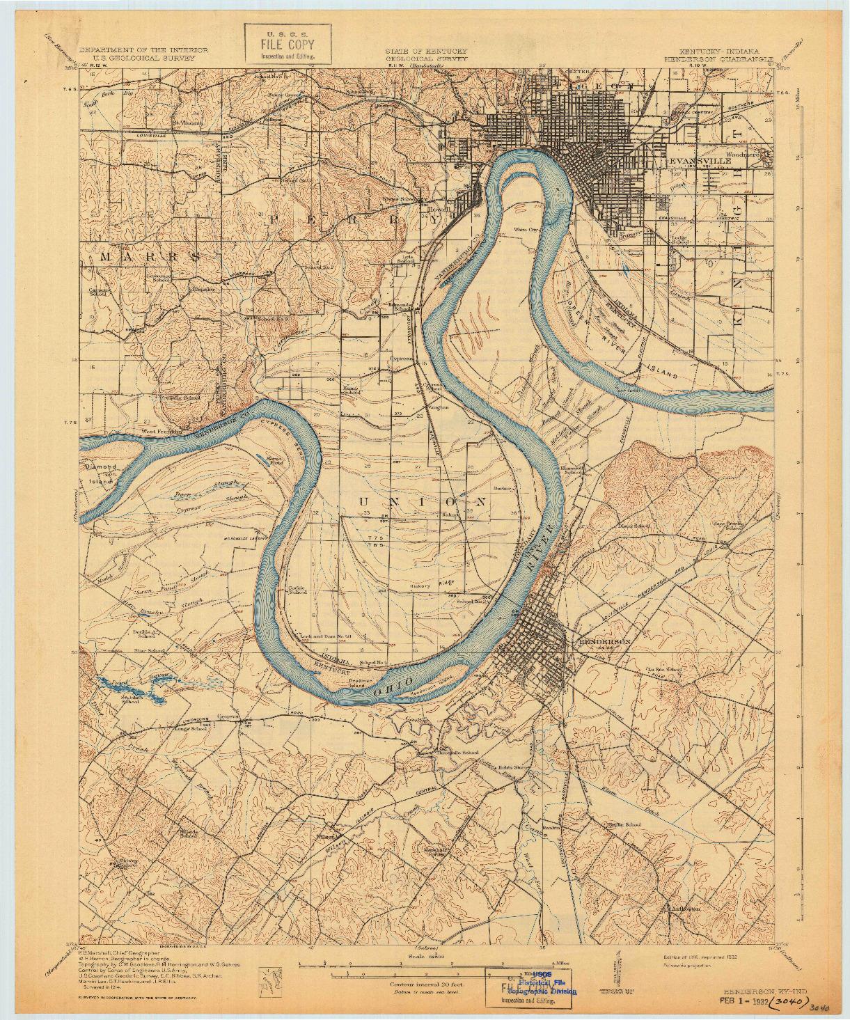 USGS 1:62500-SCALE QUADRANGLE FOR HENDERSON, KY 1916