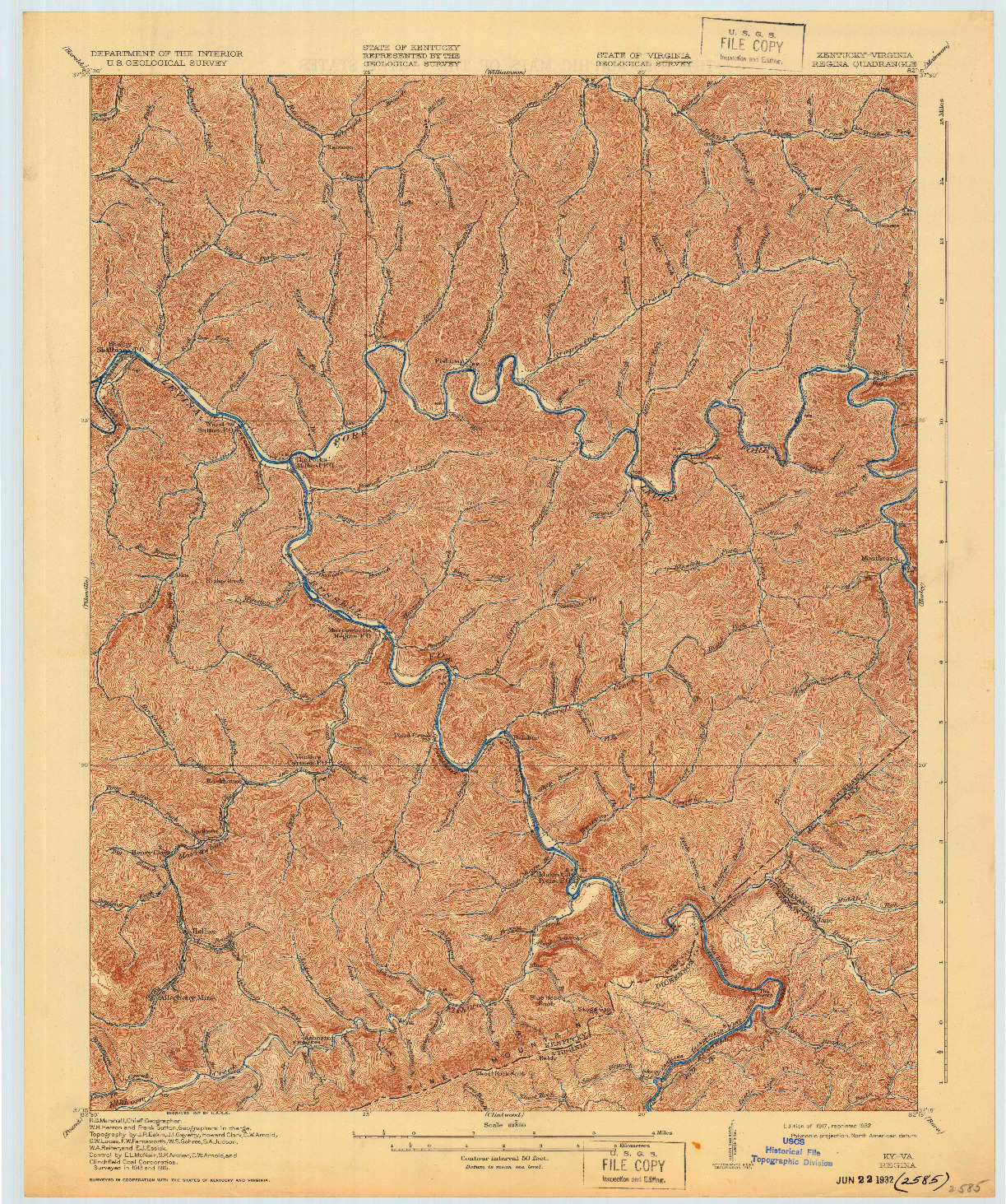 USGS 1:62500-SCALE QUADRANGLE FOR REGINA, KY 1917