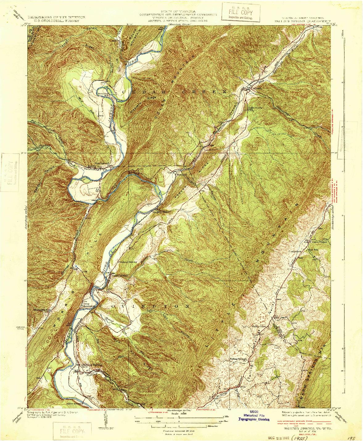USGS 1:31680-SCALE QUADRANGLE FOR FALLING SPRING, VA 1932