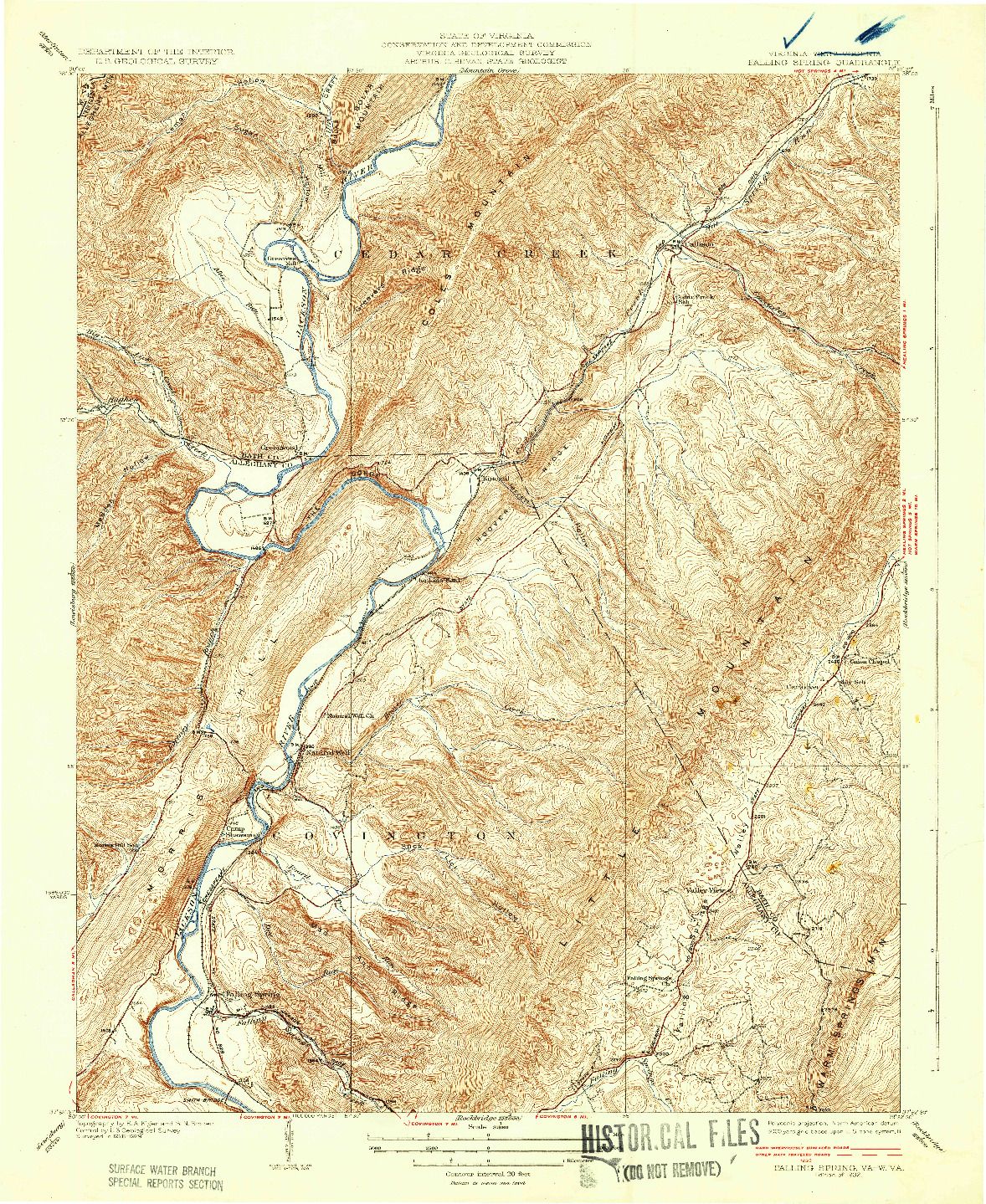 USGS 1:31680-SCALE QUADRANGLE FOR FALLING SPRING, VA 1932