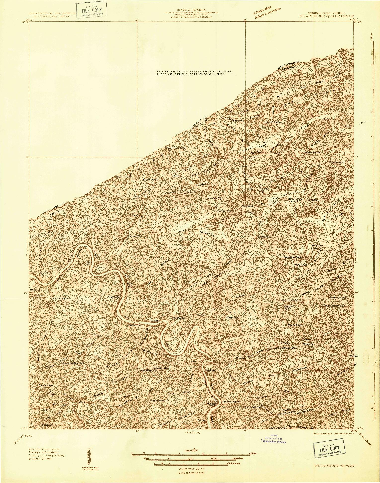 USGS 1:48000-SCALE QUADRANGLE FOR PEARISBURG, VA 1932