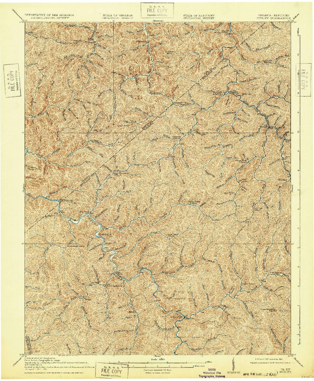 USGS 1:62500-SCALE QUADRANGLE FOR HURLEY, VA 1917
