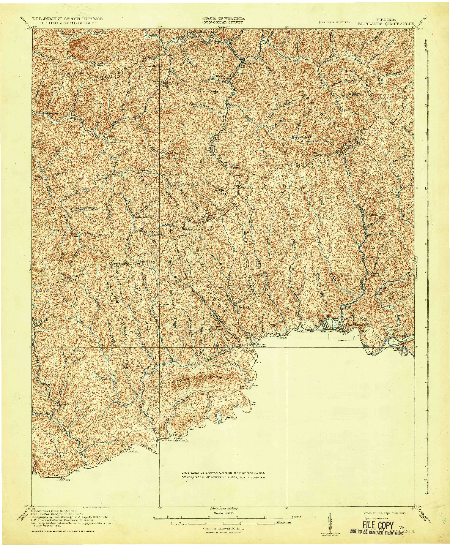 USGS 1:62500-SCALE QUADRANGLE FOR RICHLANDS, VA 1916