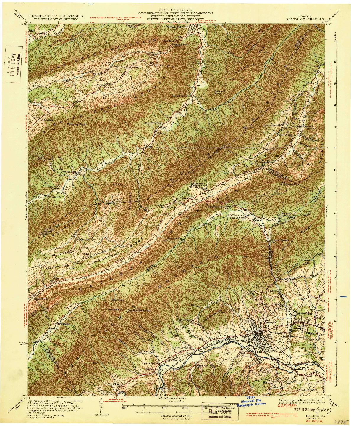 USGS 1:62500-SCALE QUADRANGLE FOR SALEM, VA 1932