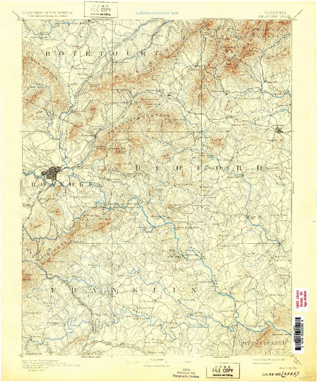 USGS 1:125000-SCALE QUADRANGLE FOR BEDFORD, VA 1891