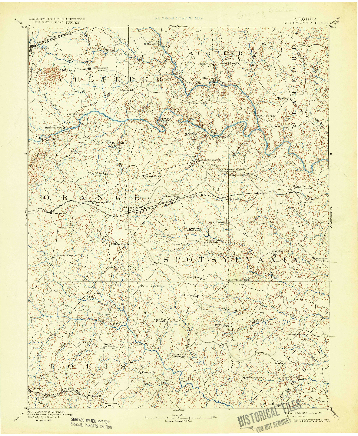 USGS 1:125000-SCALE QUADRANGLE FOR SPOTSYLVANIA, VA 1892