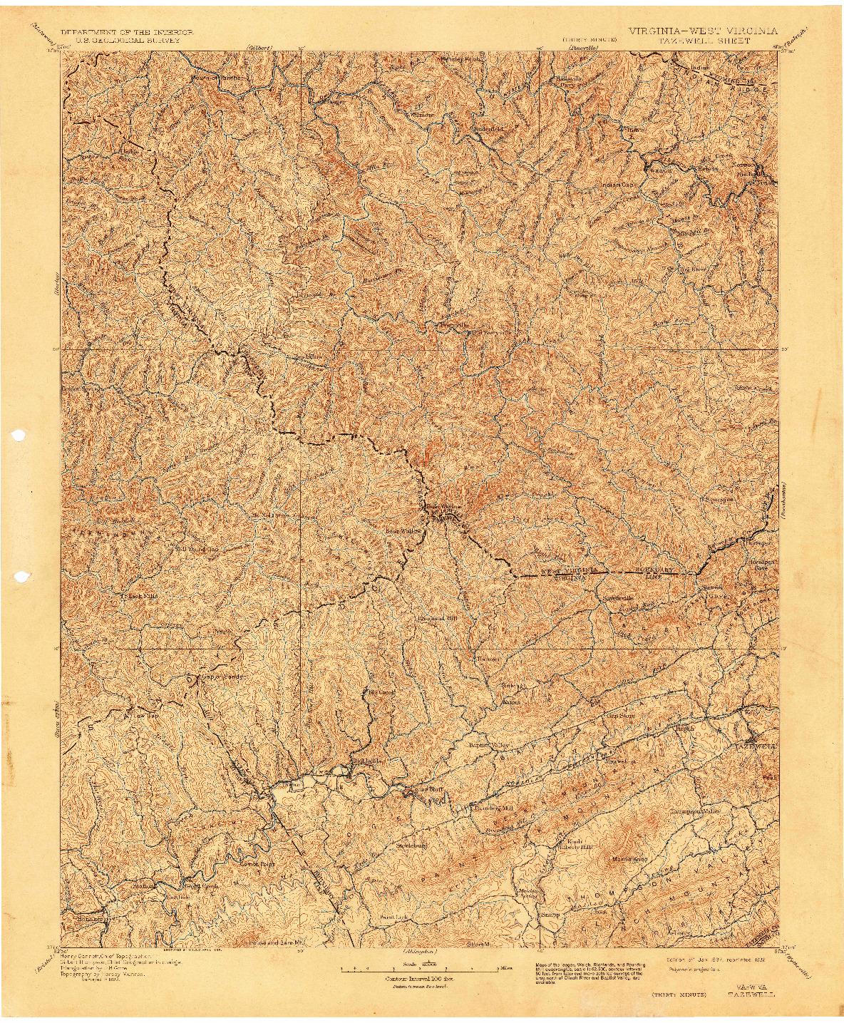 USGS 1:125000-SCALE QUADRANGLE FOR TAZEWELL, VA 1897
