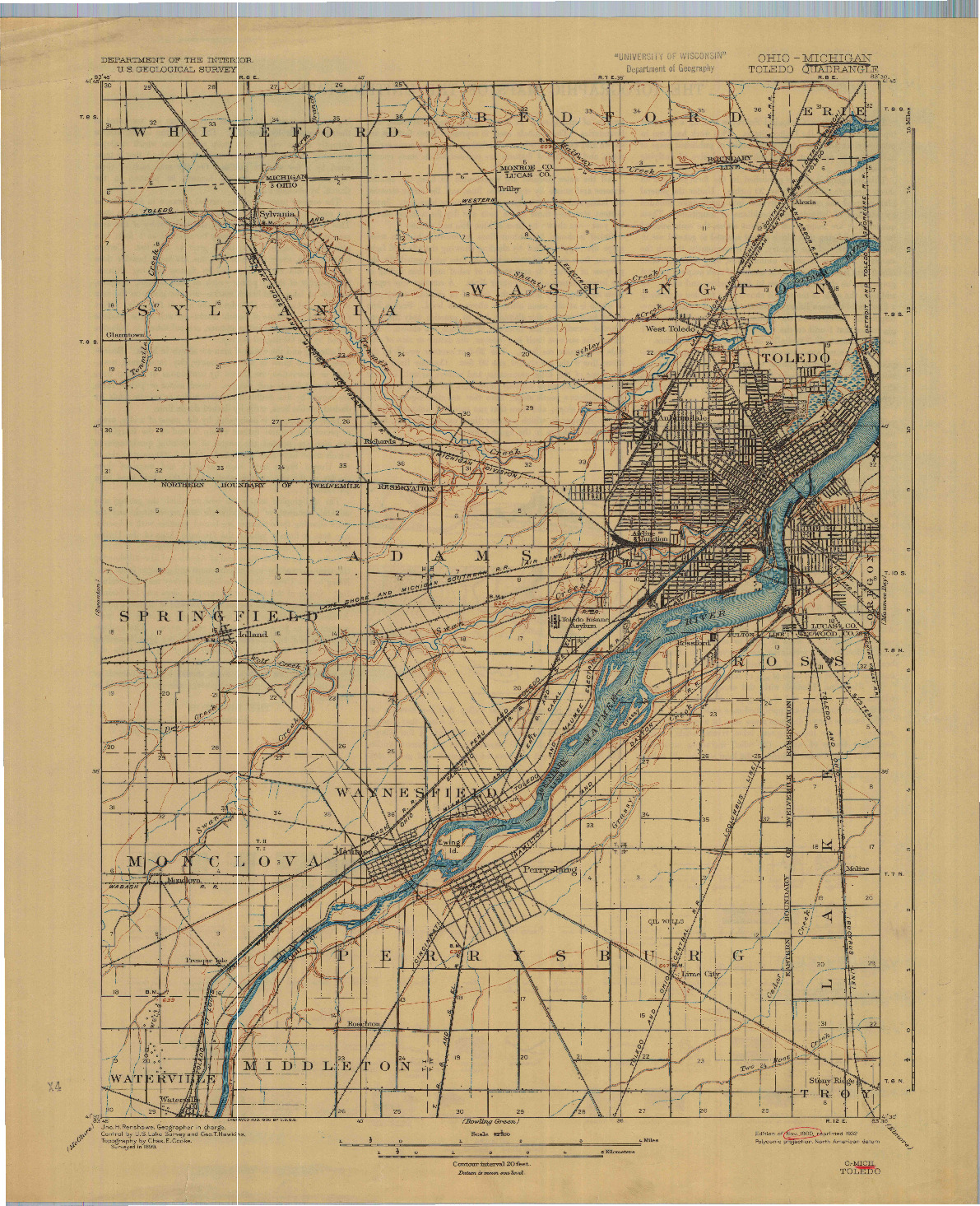 USGS 1:62500-SCALE QUADRANGLE FOR TOLEDO, OH 1900
