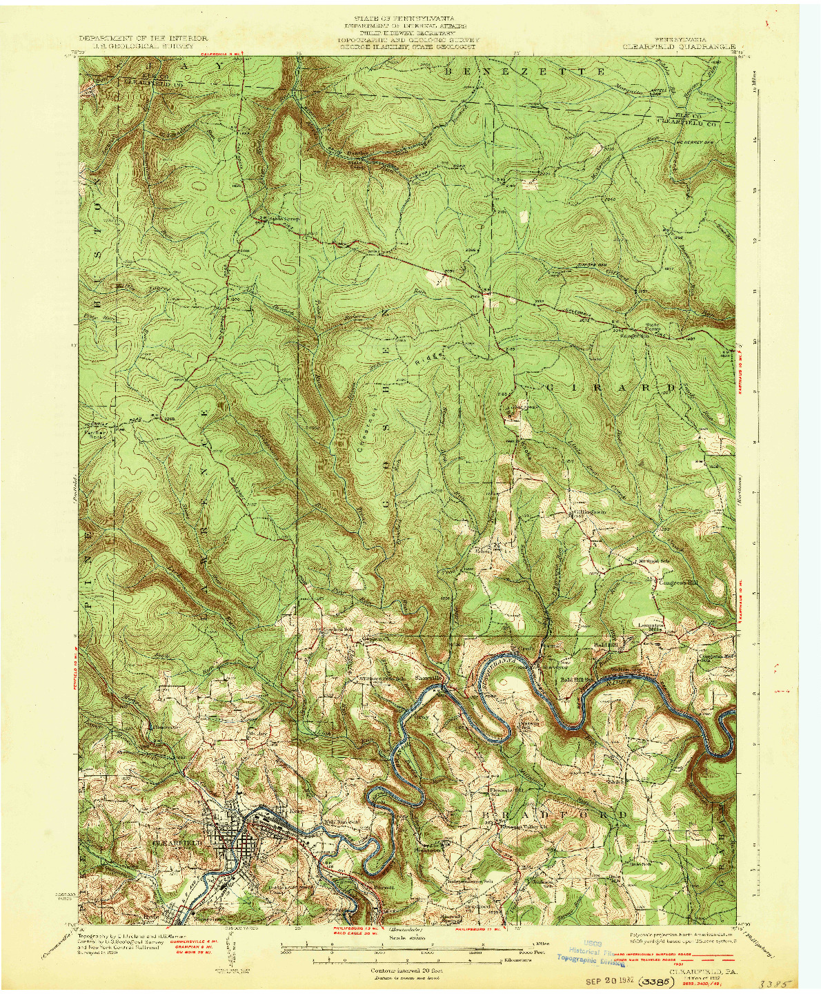 USGS 1:62500-SCALE QUADRANGLE FOR CLEARFIELD, PA 1932