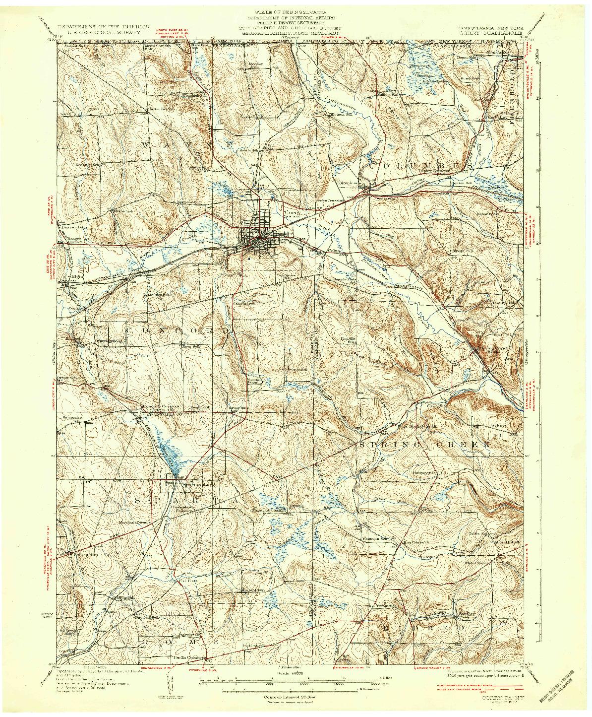 USGS 1:62500-SCALE QUADRANGLE FOR CORRY, PA 1932