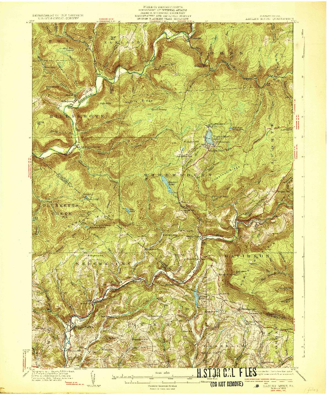 USGS 1:62500-SCALE QUADRANGLE FOR EAGLE MERE, PA 1932