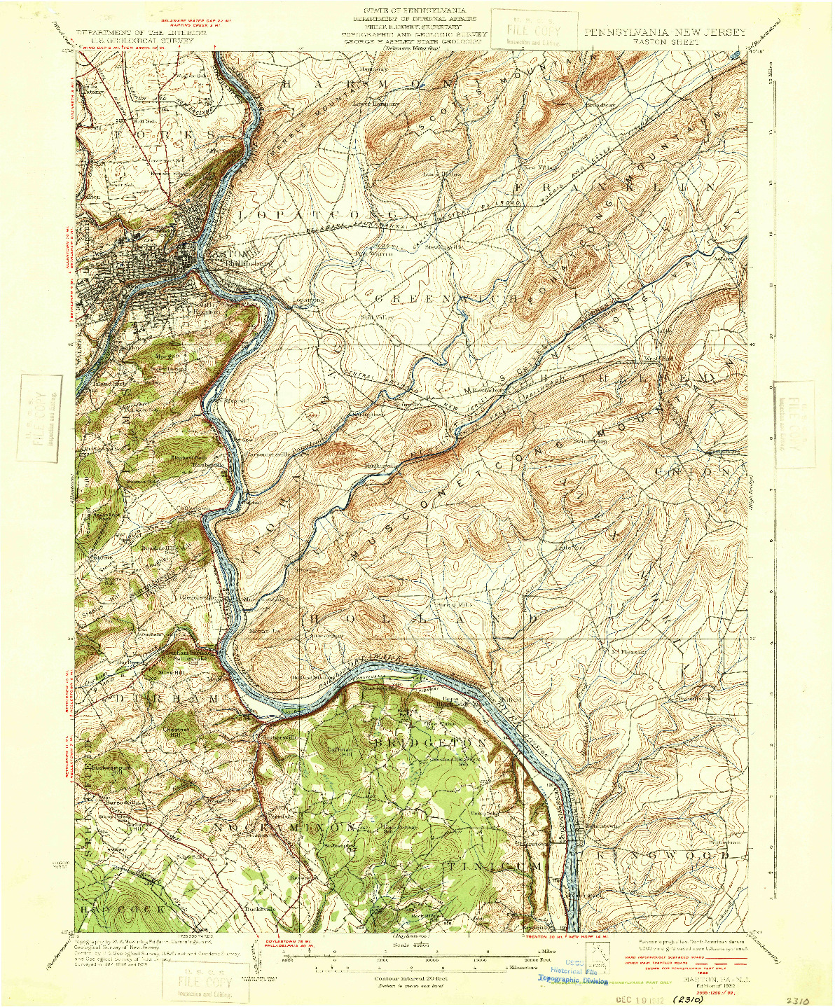 USGS 1:62500-SCALE QUADRANGLE FOR EASTON, PA 1932