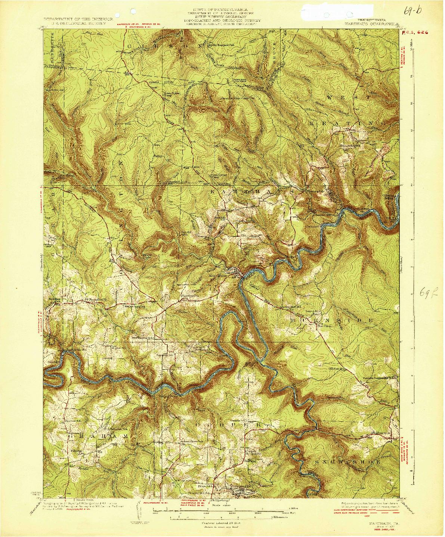 USGS 1:62500-SCALE QUADRANGLE FOR KARTHAUS, PA 1932