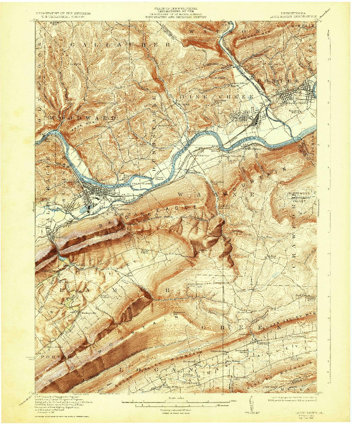 USGS 1:62500-SCALE QUADRANGLE FOR LOCK HAVEN, PA 1923