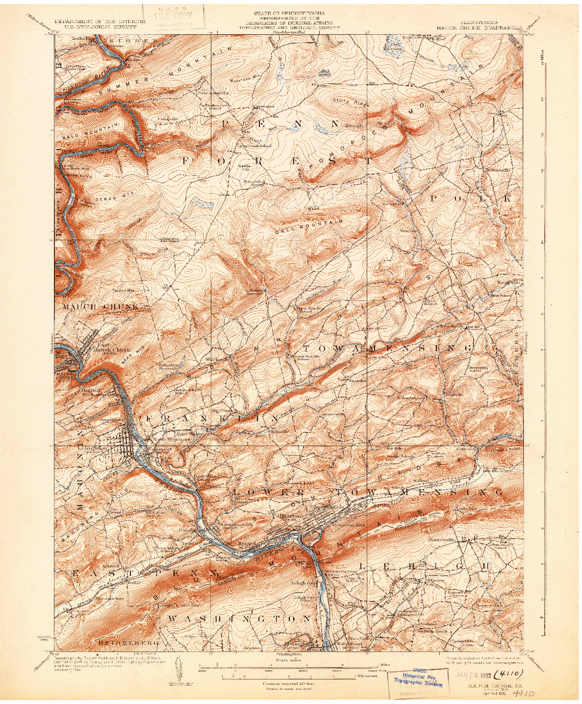 USGS 1:62500-SCALE QUADRANGLE FOR MAUCH CHUNK, PA 1924