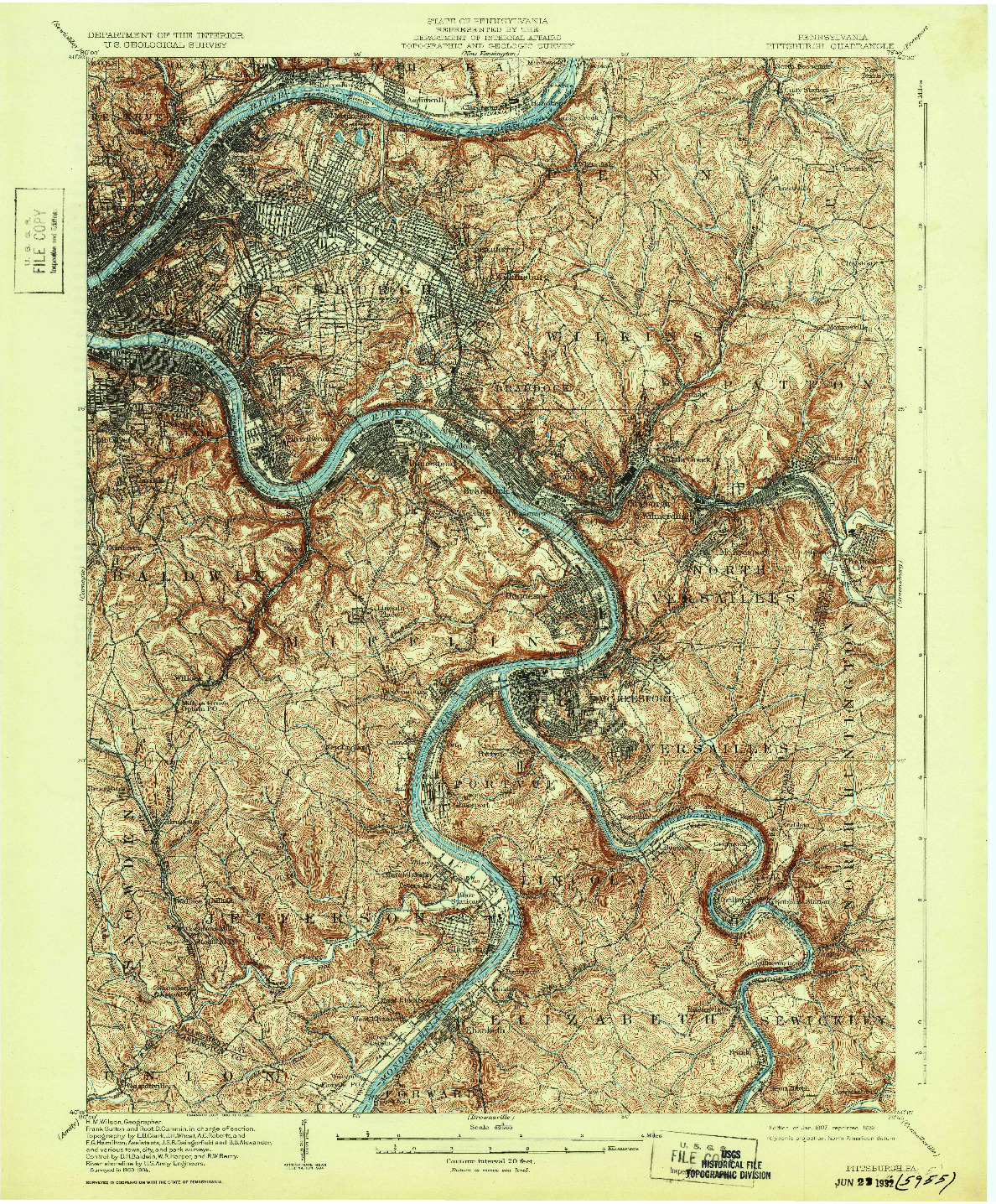 USGS 1:62500-SCALE QUADRANGLE FOR PITTSBURGH, PA 1907
