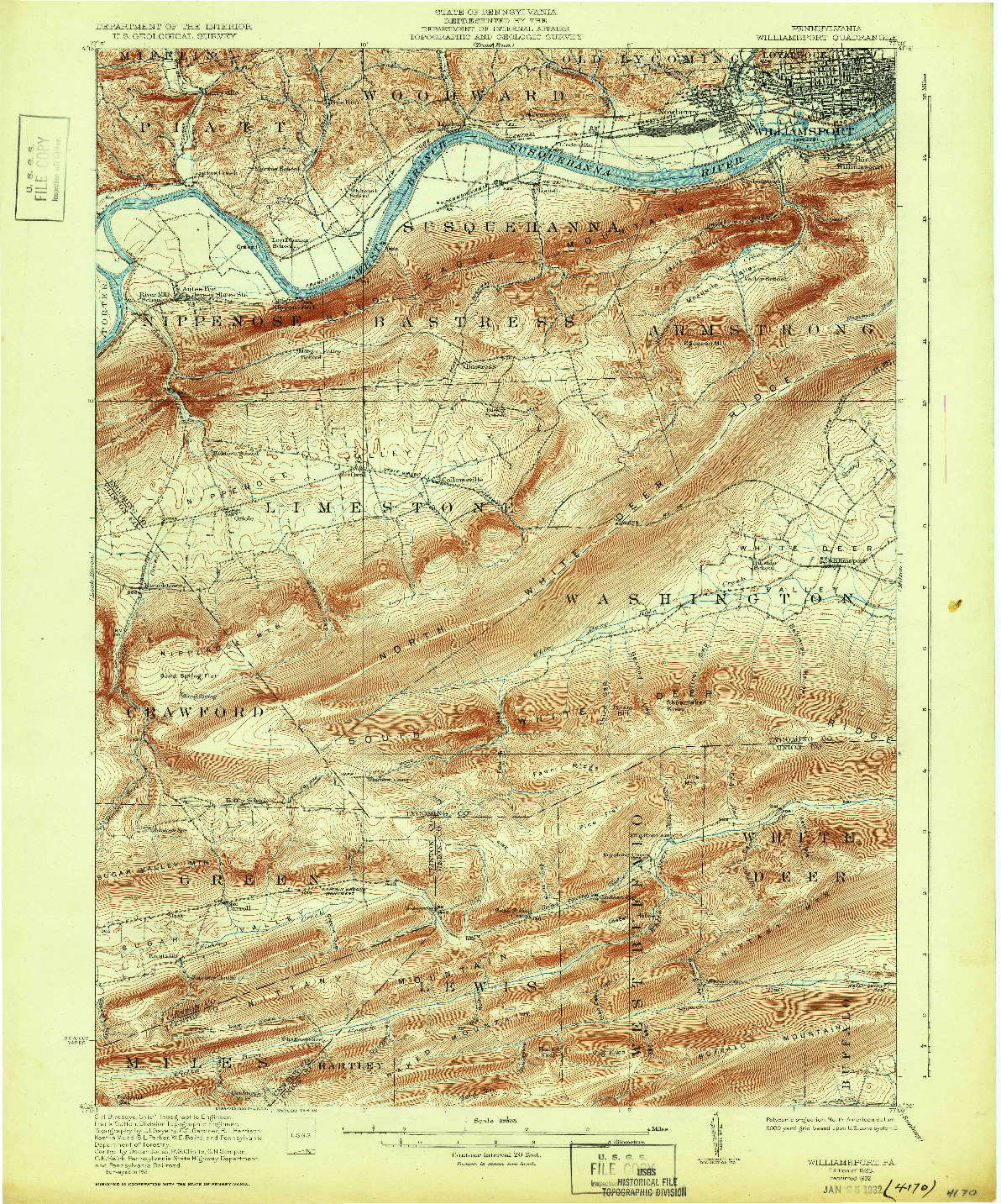 USGS 1:62500-SCALE QUADRANGLE FOR WILLIAMSPORT, PA 1923