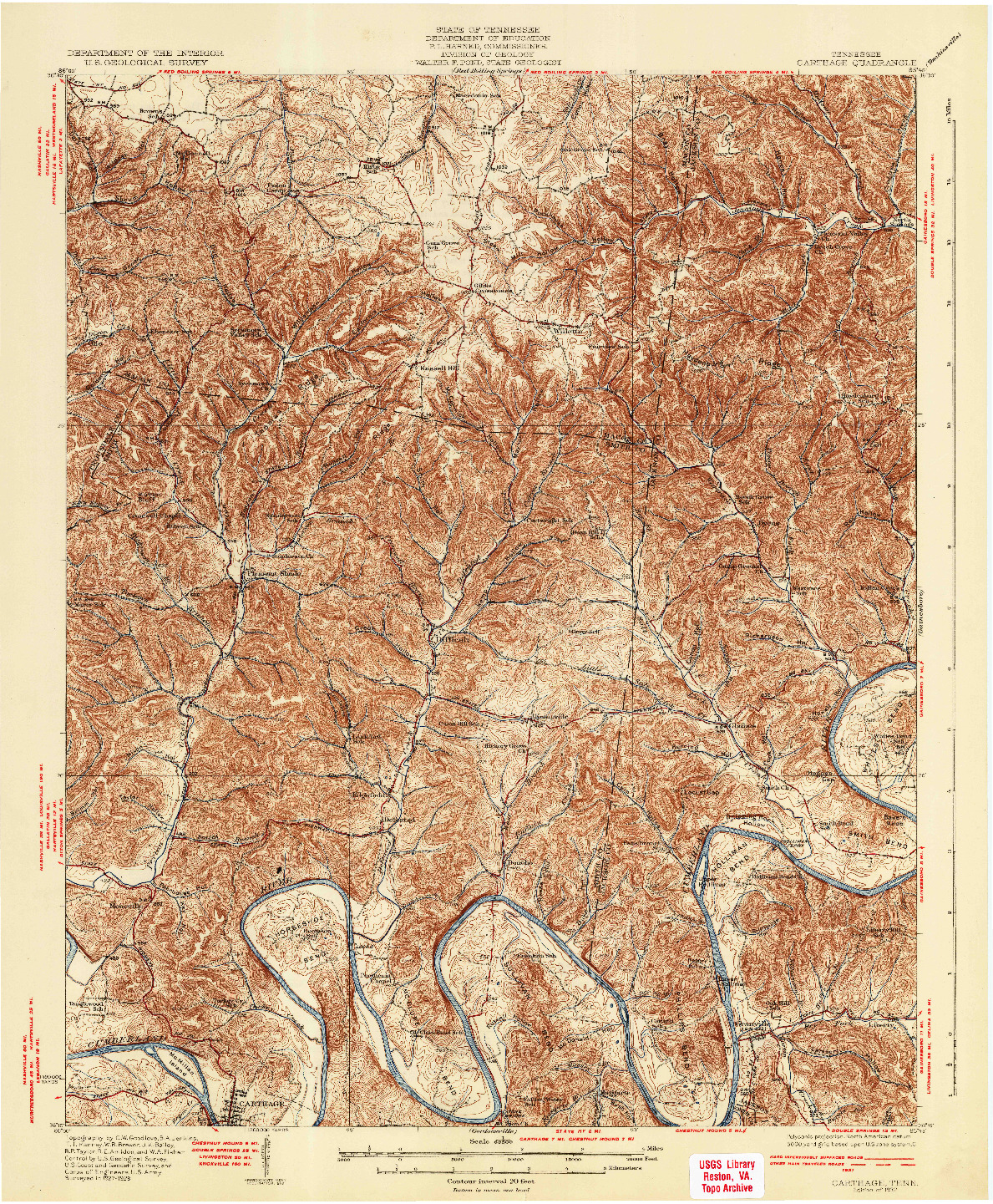 USGS 1:62500-SCALE QUADRANGLE FOR CARTHAGE, TN 1932