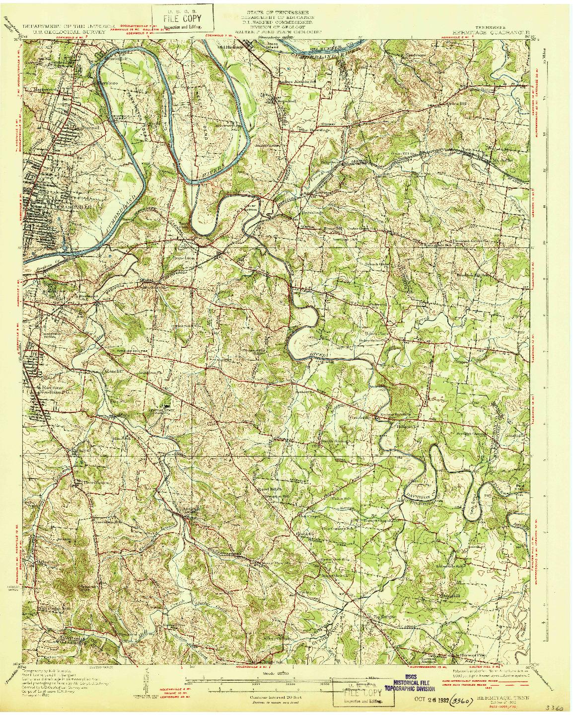 USGS 1:62500-SCALE QUADRANGLE FOR HERMITAGE, TN 1932