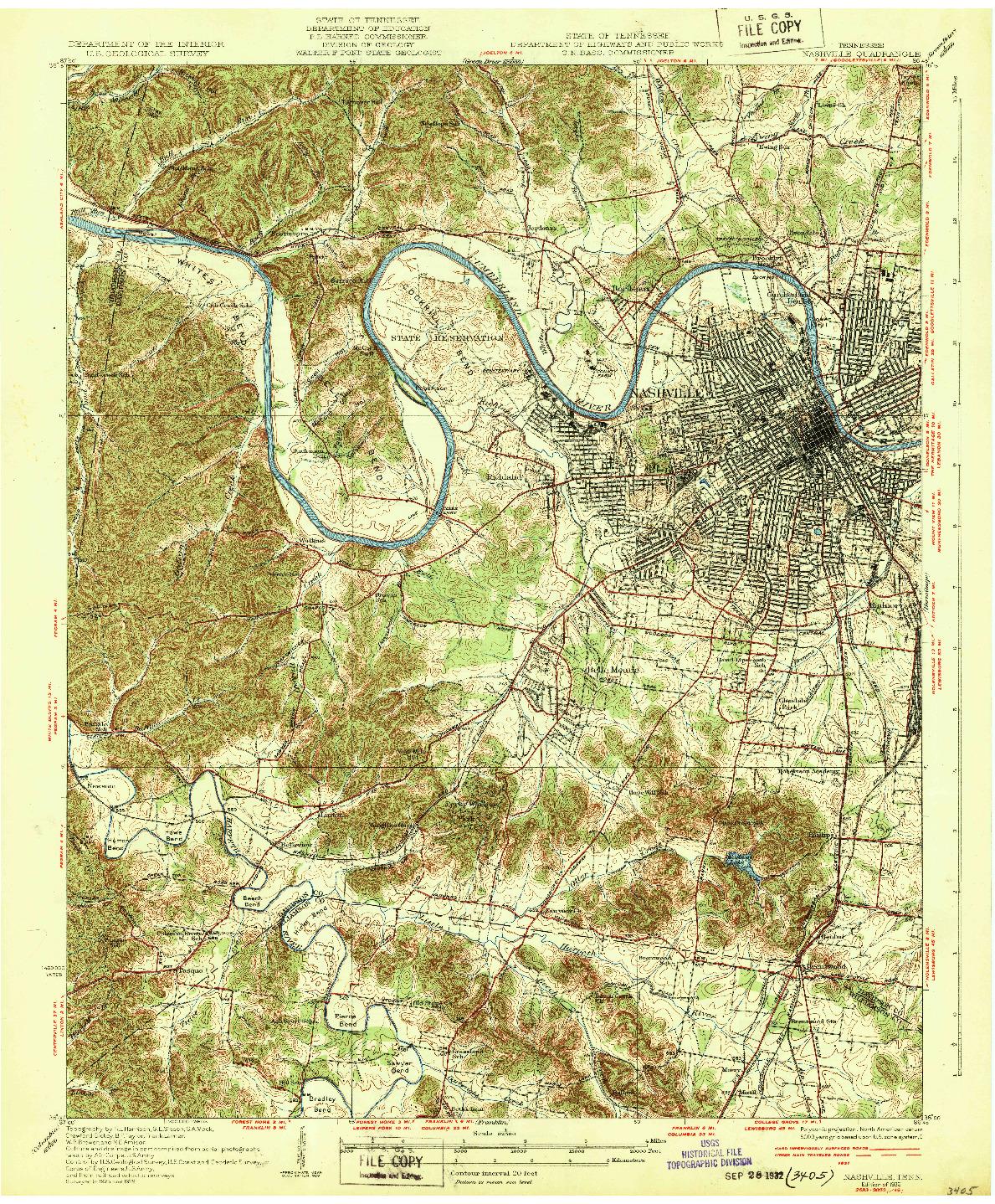 USGS 1:62500-SCALE QUADRANGLE FOR NASHVILLE, TN 1932