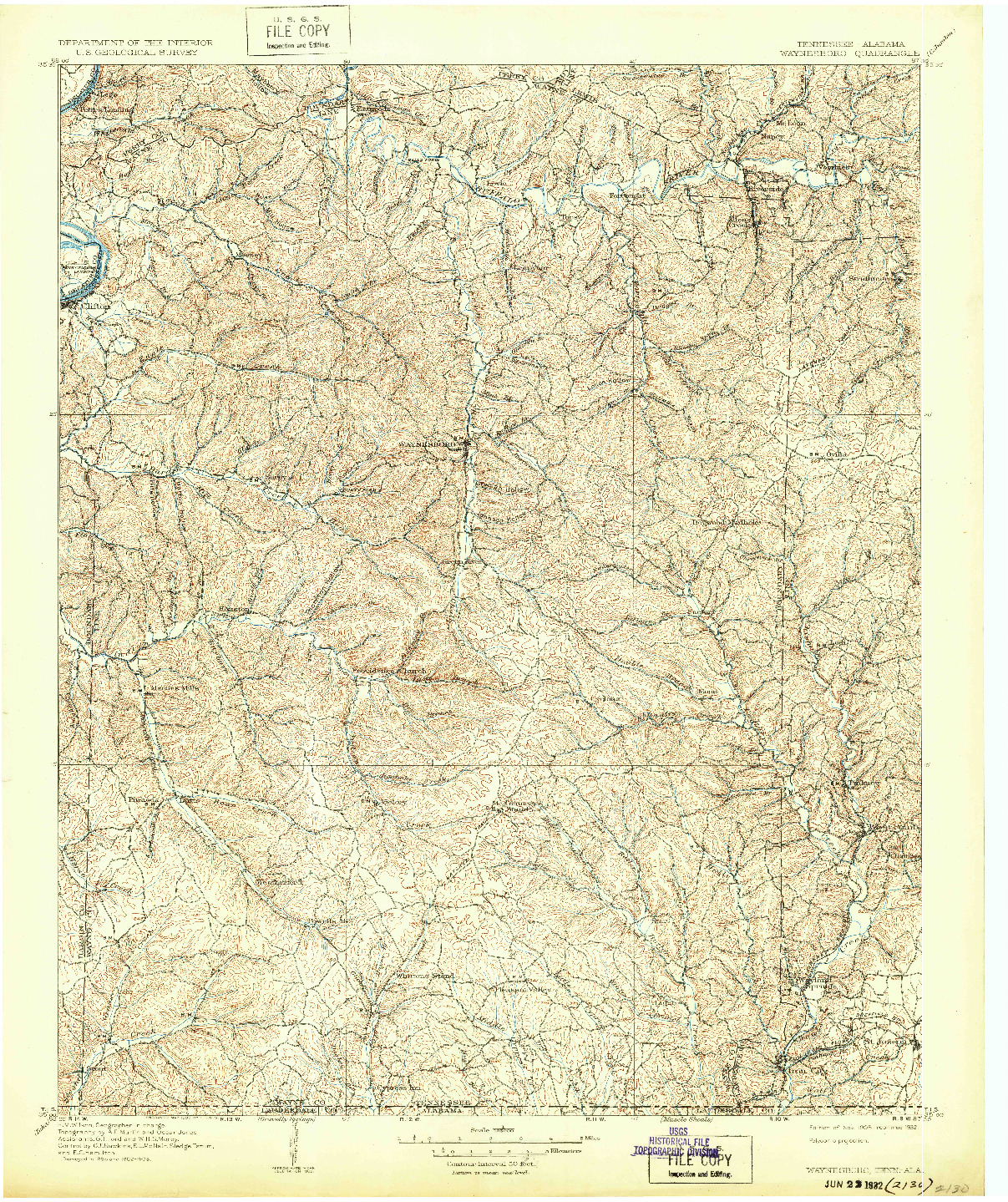 USGS 1:125000-SCALE QUADRANGLE FOR WAYNESBORO, TN 1905