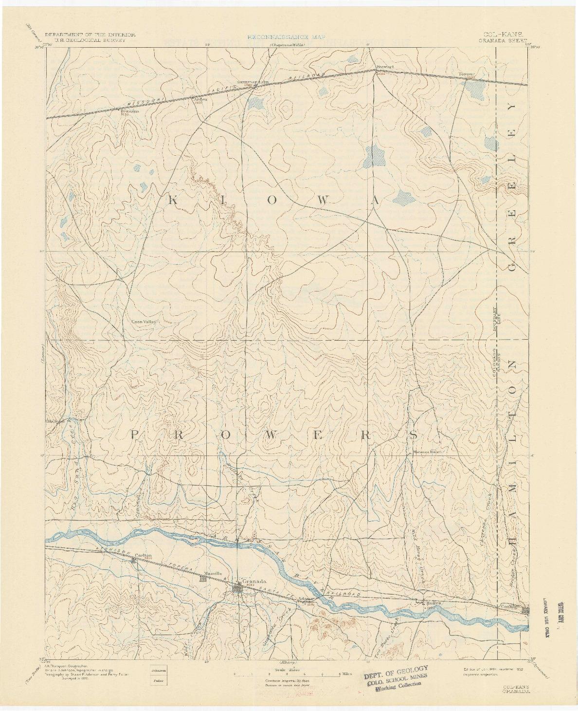 USGS 1:125000-SCALE QUADRANGLE FOR GRANADA, CO 1894