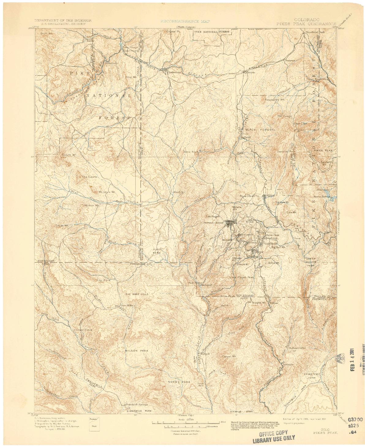 USGS 1:125000-SCALE QUADRANGLE FOR PIKES PEAK, CO 1901