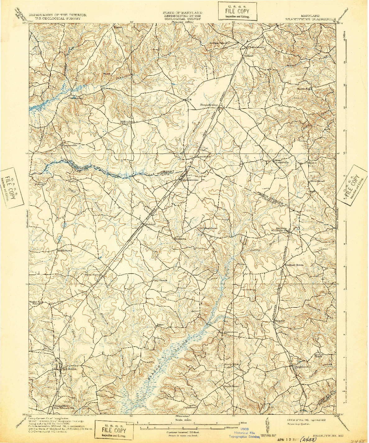 USGS 1:62500-SCALE QUADRANGLE FOR BRANDYWINE, MD 1913