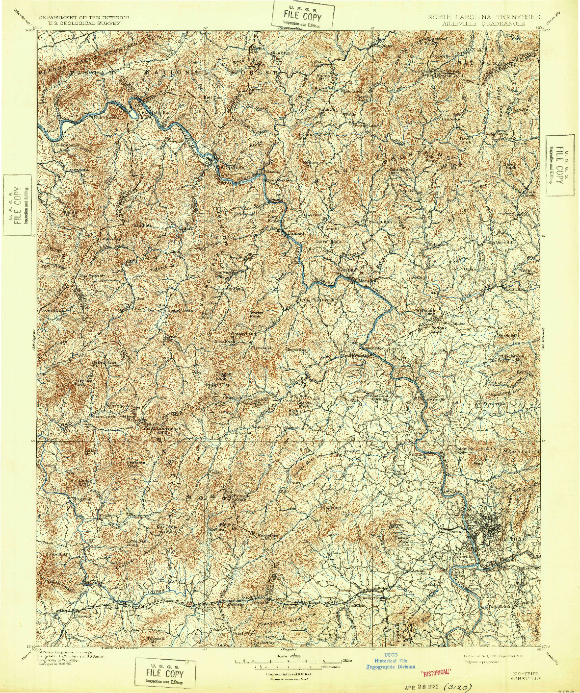 USGS 1:125000-SCALE QUADRANGLE FOR ASHEVILLE, NC 1901