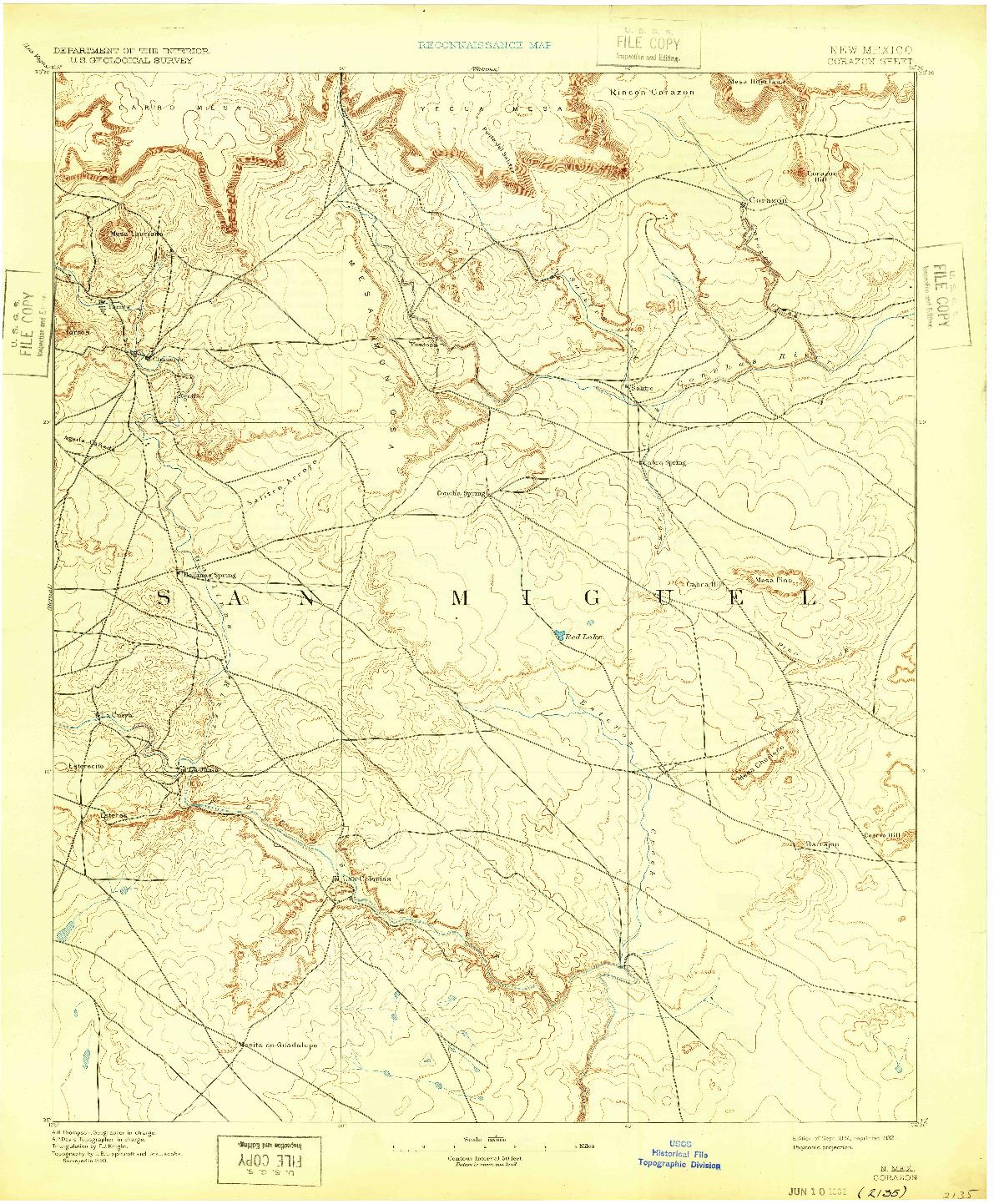 USGS 1:125000-SCALE QUADRANGLE FOR CORAZON, NM 1894
