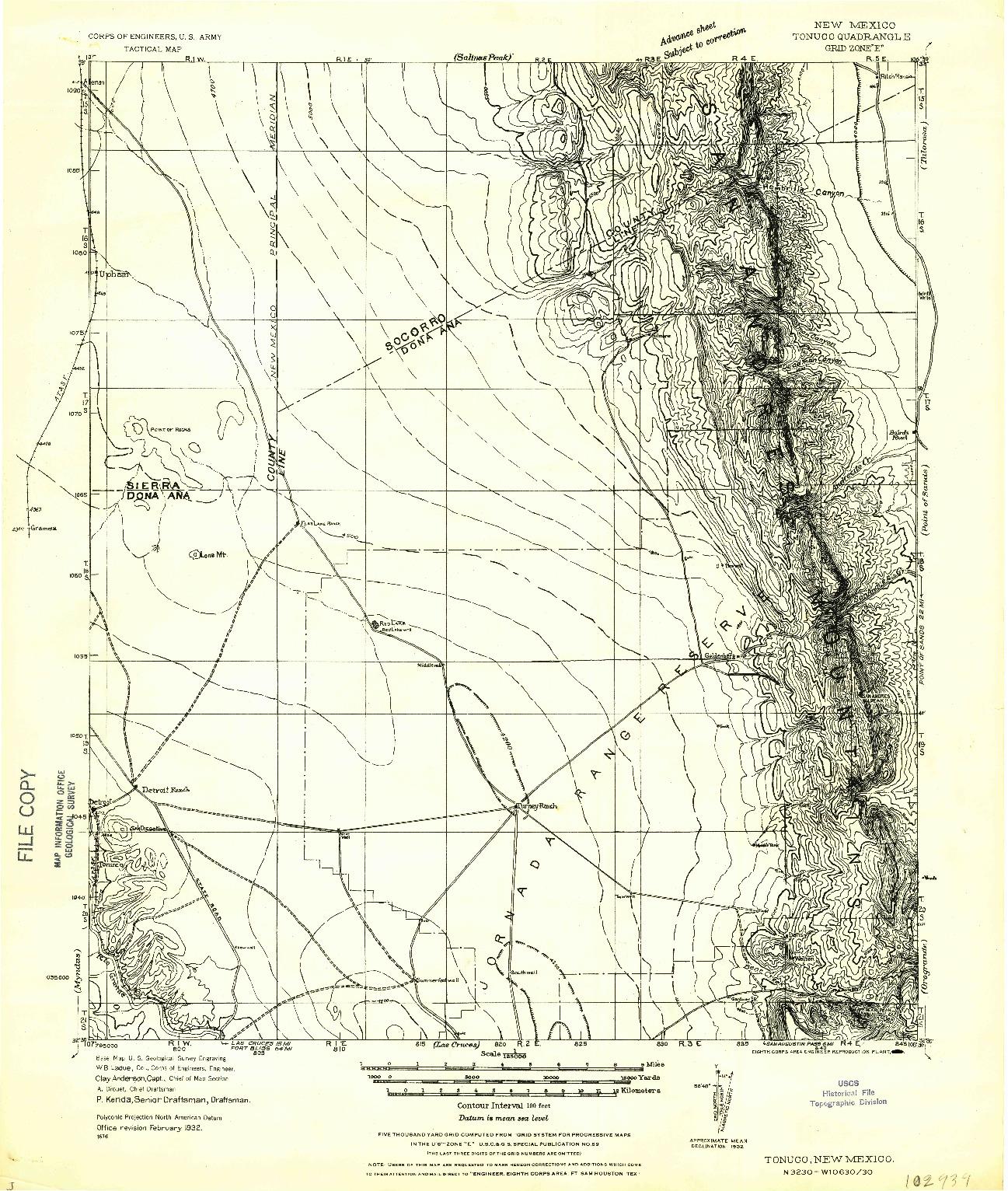 USGS 1:125000-SCALE QUADRANGLE FOR TONUCO, NM 1932