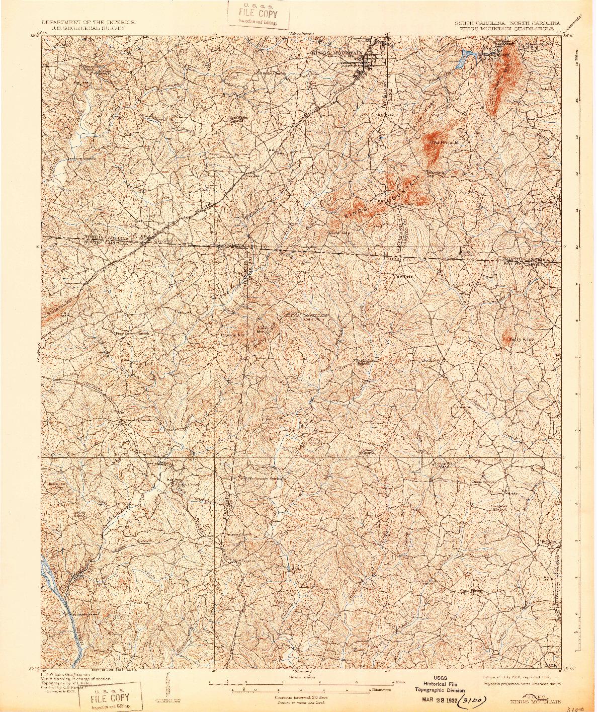 USGS 1:62500-SCALE QUADRANGLE FOR KINGS MOUNTAIN, SC 1908