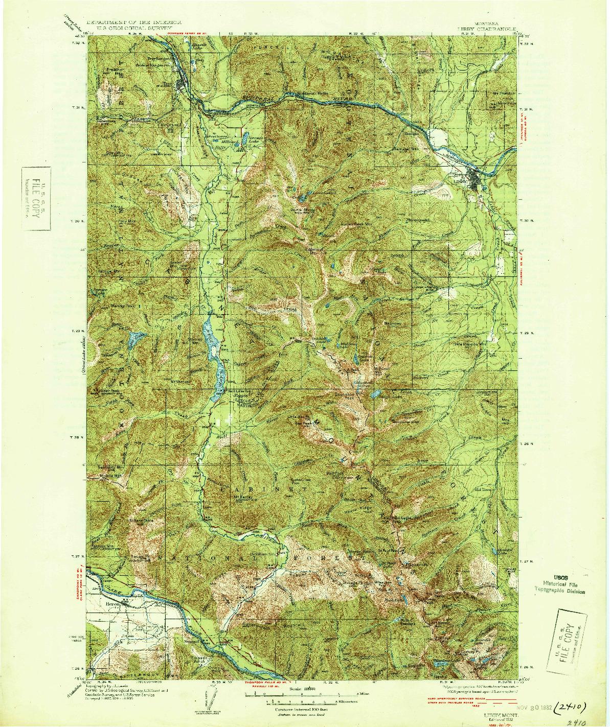 USGS 1:125000-SCALE QUADRANGLE FOR LIBBY, MT 1932