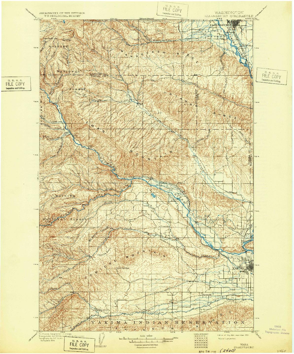 USGS 1:125000-SCALE QUADRANGLE FOR ELLENSBURG, WA 1901